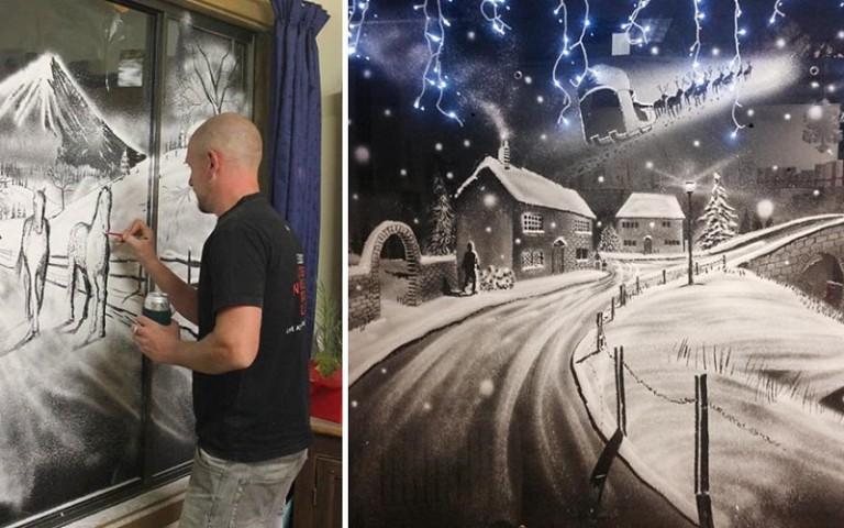 Рисунок на стекле баллончиком